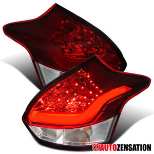 For 2012 2014 Ford Focus Hatchback Red Tail Lights Lamps W Led Bar Left Right
