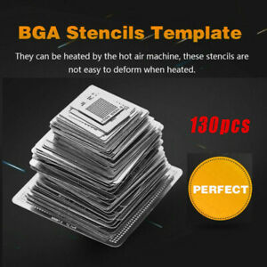 130x Bga Reball Reballing Rework Net Universal Stencils Directly Heat Set Kit