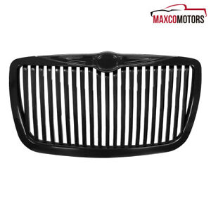 For 2005 2010 Chrysler 300 300c Vertical Glossy Black Grille Bumper Hood Grill