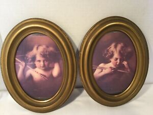 2 Vintage 7x9 Oval Wood Picture Frames W Glass Holds 5x7 Pic Gold Bronze