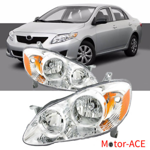 Fit For 2003 2008 Toyota Corolla Headlights Assembly Chrome Lamps Pair