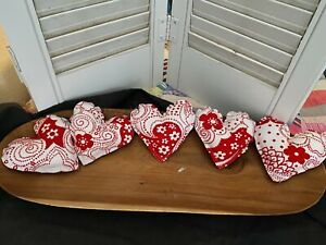 Primitive Valentine Heart Bowl Fillers Red White Set Of 5 Flowers