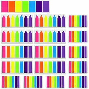 2380 Pieces Flag Tabs Colored Page Markers Sticky Index Neon Note Flags 17 Sets