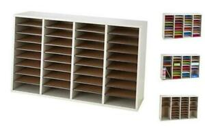 Wood Adjustable Literature Organizer 36 Compartment 9424gr Gray Durable