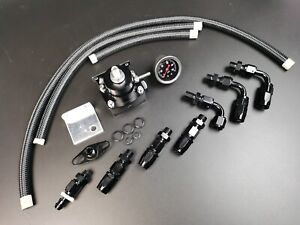 Universal 0 100 Psi Adjustable Fuel Pressure Regulator Kit W Gauge Black 6an