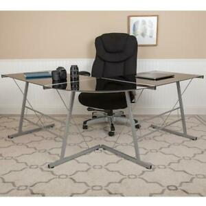 Black Glass L shape Desk