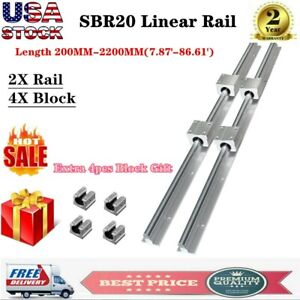 2pcs Sbr20 L200 1500mm Linear Rail Guide Shaft Rod 8pcs Sbr20uu Block Bearing