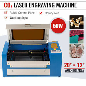 50w 20 12 Co2 Laser Engraving Cutting Machine Engraver Cutter W rotary Axis