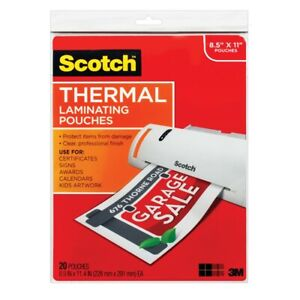 Scotch Thermal Laminating Pouches Full sheet 20 count Package