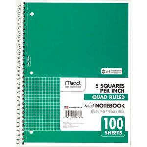 Mead Quad Ruled Spiral Notebook