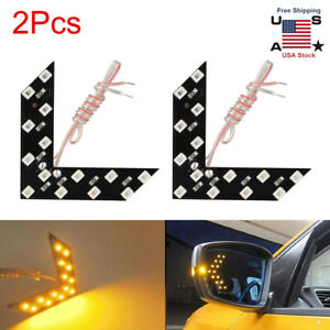 2pcs Car Side View Mirror Turn Signal 14 smd Led Arrow Lights Blinker Lamp Amber