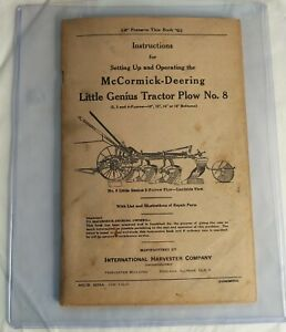 Mccormick Deering Vintage Little Genius Tractor Plow No 8 Owners Manual 1937