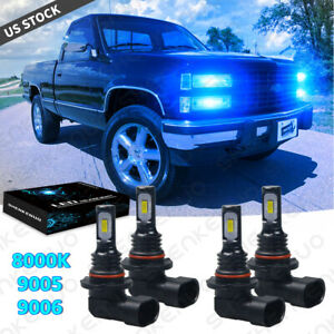 For Chevy C1500 2500 3500 1990 98 8000k Led Headlight Bulbs Hi lo Beam Combo Kit