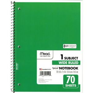 Mead Wide Ruled 1 Subject Spiral Notebook