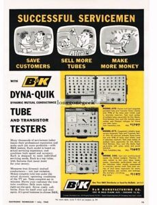1960 B k Dyna quik Tube Testers Test Service Equipment Vintage Print Ad