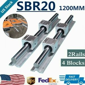 2xsbr20 1200mm 47 24 Linear Silde Rail Guide Shaft 4xsbr20uu Bearing Block Set