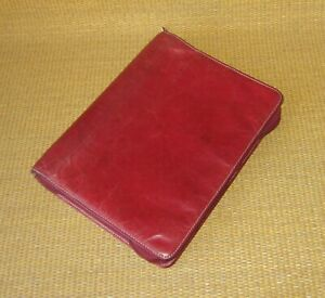 Classic Franklin Covey Red Unstructured Leather 1 125 Rings Planner binder