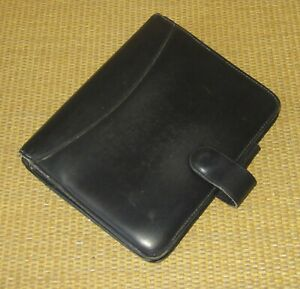 Compact Franklin Covey quest Black Leather 1 Rings Open Planner binder