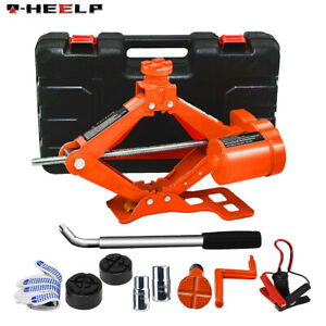 Electric Scissor Floor Jack Stand 3 Ton 12v Car Jack Lift With Manual Wrench Kit
