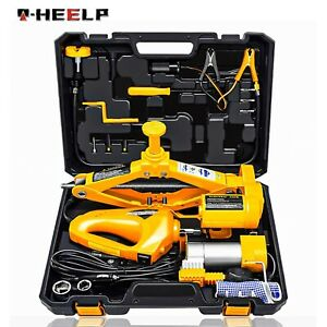 Car Jack Lift 12v 3 Ton Electric Scissor Floor Jack Impact Wrench Tire Tool Kit
