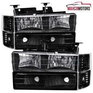 For 1994 1998 Chevy C10 C k Tahoe Suburban Black Headlights parking Corner Lamps