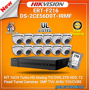 Hikvision Kit 16ch Turbohd Analog Dvr With 2tb Hdd 12 2mp Fixed Turret Camera