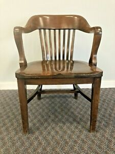 Vintage Wood Office Chair Arm Banker Desk Courthouse Lawyer Antique Oak Sikes 3