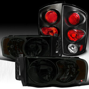 For 2002 2005 Dodge Ram 1500 2500 3500 Pickup Smoke Headlights Black Tail Lamps