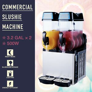 Commercial Slushy Juice Drink Machine 2 Tanks 24l 2 Cylinder Stainless Steel