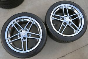 Corvette C6 Z06 Style 18x9 5 Chrome Wheels Rims Set Of 2 W Michelin Tires Used