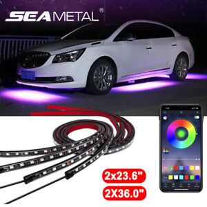 App Control 4pcs Rgb Flow Led Car Tube Strip Underglow Neon Light Kit Waterproof