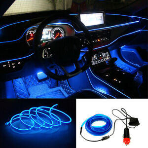 6 5ft Blue Led Light Glow El Wire String Strip Rope Tube Car Inner Party Decora