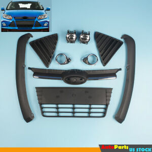 Complete Front Bumper Grille Cover Assembly Fog Light Fit For 2012 14 Ford Focus