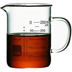 Glass Beaker With Handle Measuring Cup Mug Pouring Spout Graduated 250ml