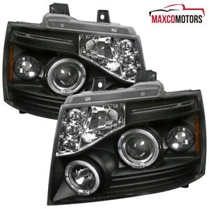 Black For 2007 2013 Chevy Avalanche Tahoe Suburban Led Halo Projector Headlights
