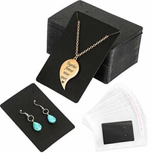 100 Pack Earring Cards 200 Pcs Self sealing Bags Kraft Paper Necklace