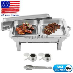 1 Pack Catering Stainless Steel Chafer Chafing Dish Sets 9 Qt Half Size Buffet