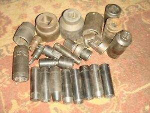 Lot Of 24 Impact Sockets Mostly 3 4 Snap on Mac Others Wide Range Of Size