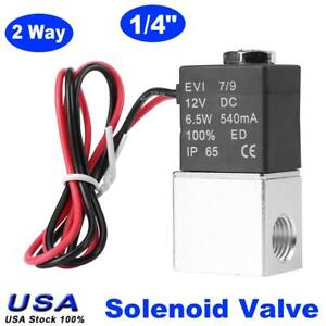 2 Way 1 4 Electric Normally Closed Pneumatic Solenoid Air Valve Aluminum Dc12v