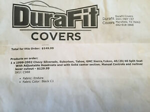 Durafit Exact Fit Covers Black 1992 2002 Chevy Gmc Truck Seat Covers