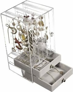 Jewelry Box And Earring Holder Jewelry Hanging Organizer Pull Type Dustproof Acr