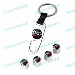 Brand New Valve Stem Caps Keychain Keyring Wheel Tire Set For Audi Key Fob Keys