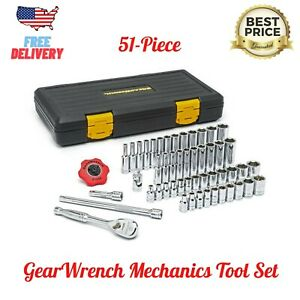 1 4 In Gearwrench 120xp Sae Metric Standard And Deep Mechanics Tool Set 51 Pc
