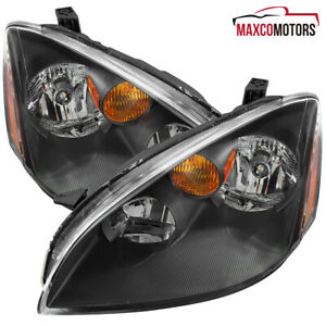 Black For 2002 2003 2004 Nissan Altima Headlights Lamps Left Right Replacement