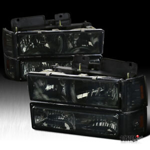 For 1994 1998 Gmc C10 Sierra Suburban Smoke Headlight Bumper Corner Signal Light