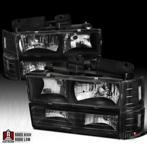 Fit 1994 1998 Gmc C10 Pickup Sierra Black Headlights Bumper Corner Signal Lights