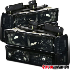 For 94 98 Gmc C10 Sierra Yukon Suburban Smoke Headlights Bumper Corner Lamps