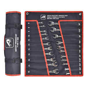 Aain 22pc Combination Ratcheting Wrench Set Metric Mm Standard Sae With Roll Bag
