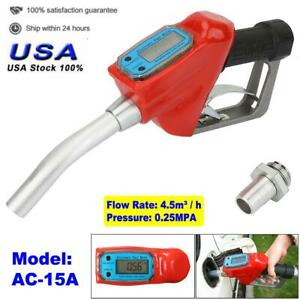 1 In Electronic Oil Delivery Gun Fuel Meter Nozzle Dispenser For Gasoline Diesel