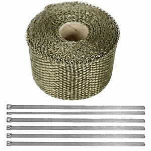 Exhaust Manifolds Titanium Heat Wrap Tape Thermal Lava Wrap 2 X 5m 6 Ties